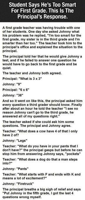 Student Says His Is Too Smart For First Grade The Principals Response Is Hilarious funny jokes story lol funny quote funny quotes funny sayings joke humor stories funny kids