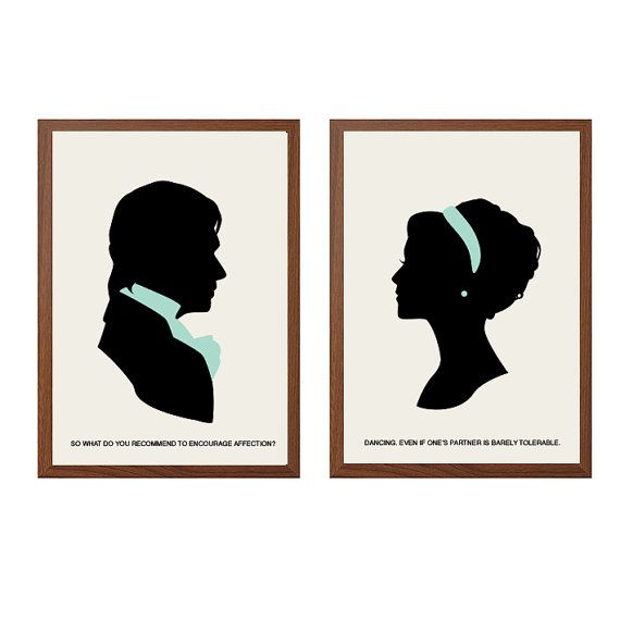 PRIDE AND PREJUDICE| Dancing Poster :Mr Darcy + Elizabeth Bennet Modern Illustration Retro Art Wall Decor