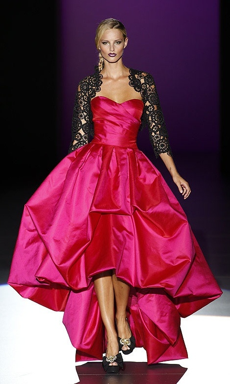Pink Satin and Black Lace Designer Gown (Hannibal Laguna 2013)