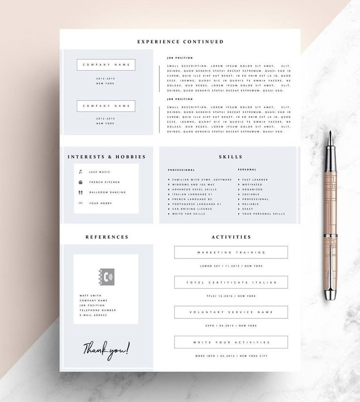 Cv resume template word 1 page resume template modern