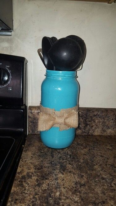 Reused pickle jar. Painted the inside with acrylic paint, and added a burlap bow.