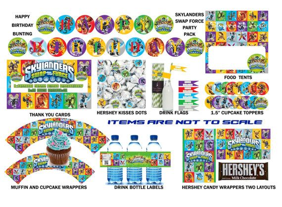 Skylanders Swap Force Printable HAPPY BIRTHDAY Party Pack - Assorted Characters and Swapforce logo on Etsy, $5.50