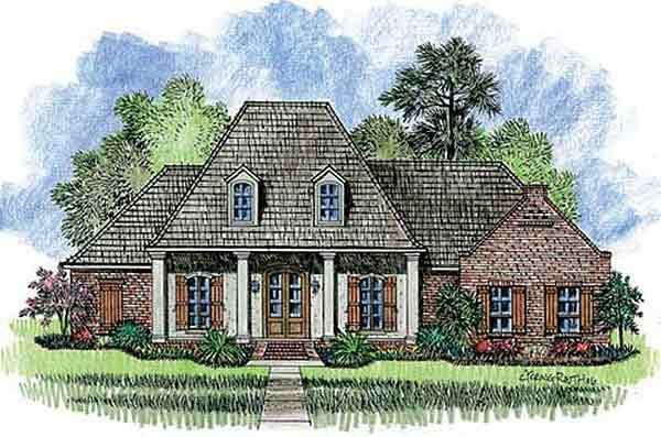 Plan 56332sm Split Bedroom French Country Home Plan Acadian House Plans French Country House Plans Country House Plans
