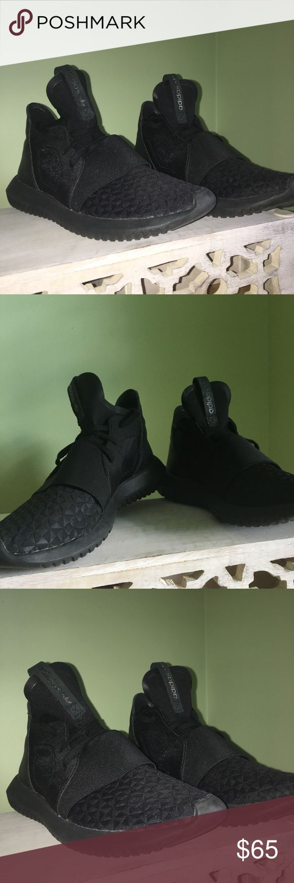 ADIDAS TUBULAR DEFIANT VERY NEW                                                                             - All BLACK                                                                                 -SIZE 6 MENS adidas Shoes Sneakers