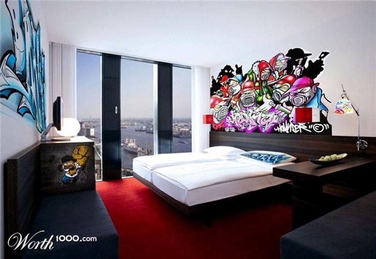 80 best street art interiors images on pinterest for Graffiti bedroom designs