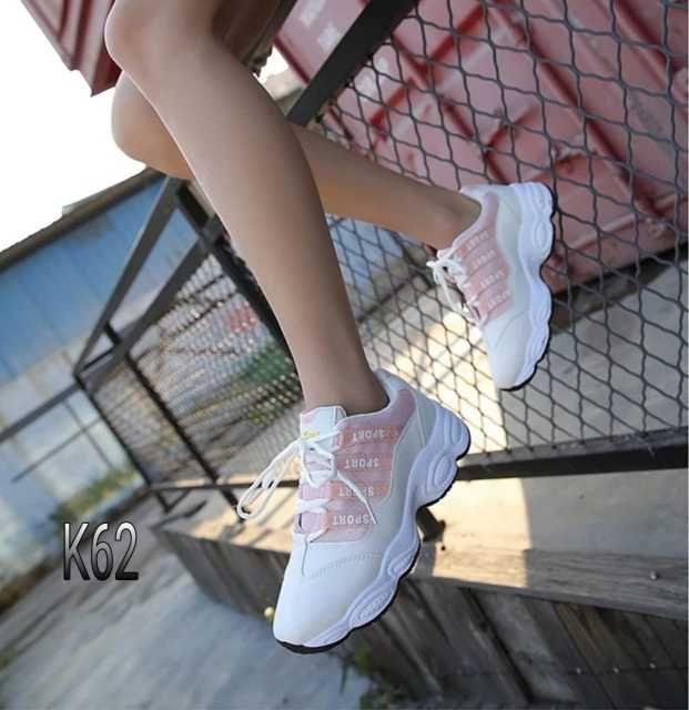 Sepatu Fashion Women Korea Shoes K62 Warna Pink Sepatu Kets