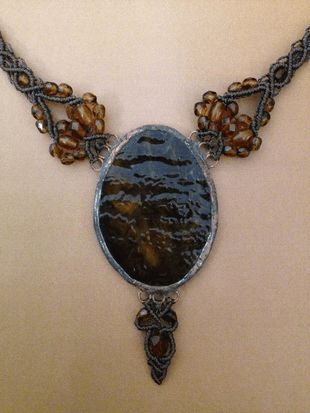 Brown macrame glass necklace, big oval