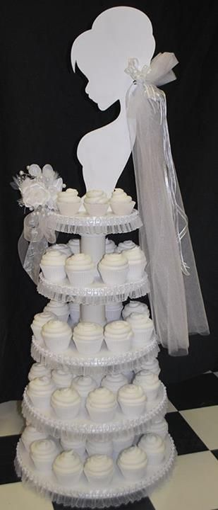 Pretty cupcake tower for bridal shower or wedding