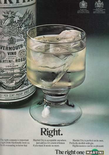 Martini Dry May '72 advert I love the glass #70sadverts