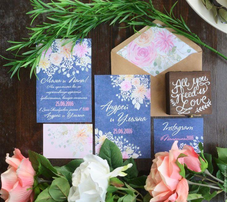 Купить Свадебные приглашения акварельные,Цветы на синем фоне - свадебные приглашения, приглашение, приглашения, пригласительный