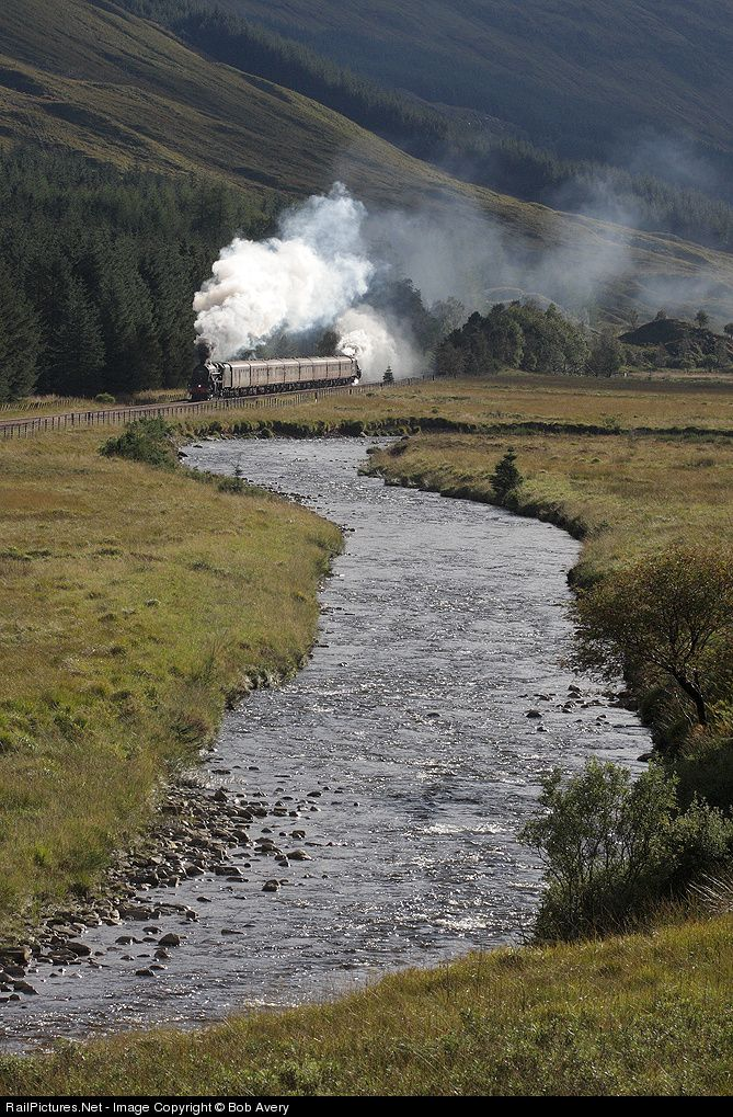 45407, assisted by 44871 in the rear, head the Oban-Crianlarich leg of the Railway Touring Company's 'West Highlander' tour through Glen Lochy, alongside the river of the same name. The Oban to Crainalarich branch is part of Scotland's West Highland line.