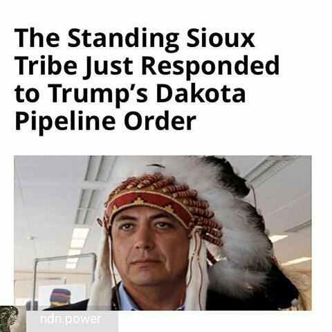 @Regrann from @ndn.power -  The Standing Rock Sioux of North Dakota are vowing a fight against President Trumps Dakota Access Pipeline green light. Today Trump announced an executive order on DAPLwhich not only violates the law but it violates tribal treaties. Nothing will deter us from our fight for clean water. We will be taking legal action and take this fight head on. We urge you to fight and stand tall besides us a Facebook post on the tribes page says encouraging supporters to take…