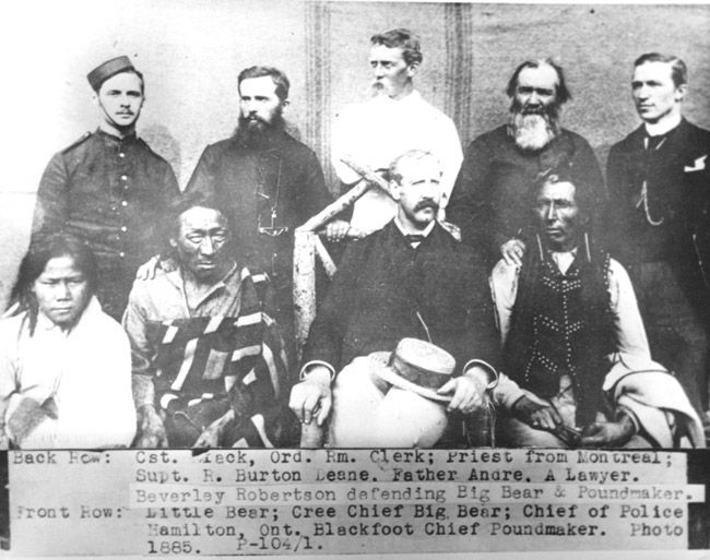 Father Andre, Chief Big Bear, R. Burton Deane, Hamilton, Little Bear, Cst. Peck, Chief Poundmaker, Beverly Robertson, Blackfoot Siksika, Montana, Indian Peoples Digital Image Database Object Description