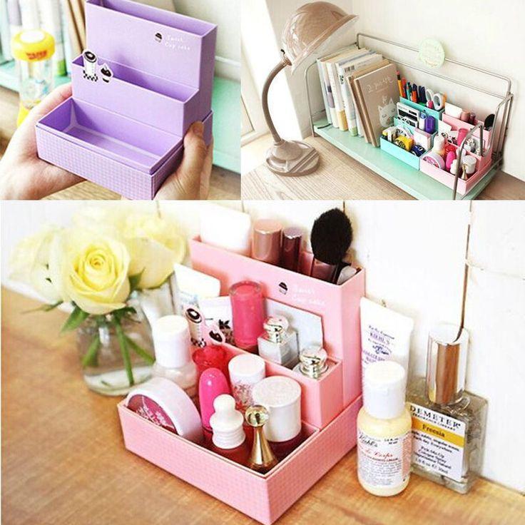 Hazlo tú mismo maquillaje cosmético papelería papeles para Escritorio Decoración Organizador Caja de almacenamiento CA