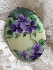 Vintage Victorian Hand Painted Porcelain Violets Flowers Brooch Pin