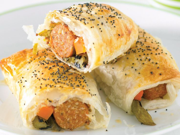 Crisp and golden, these vegetarian sausage rolls make an excellent snack.
