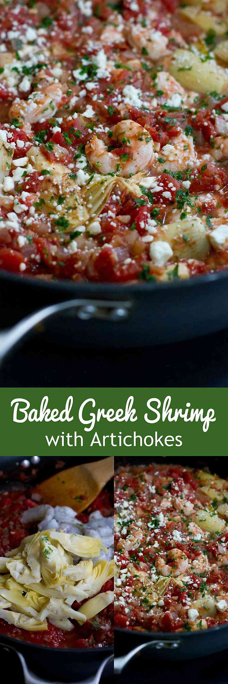 This Baked Greek Shrimp with artichokes is fantastic served over rice, pasta or quinoa! A quick and easy dinner recipe. 204 calories and 3 Weight Watchers SmartPoints