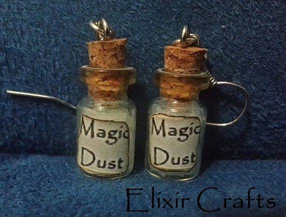 Earrings Miniature Bottle Magic Dust Glow in the by ElixirCrafts