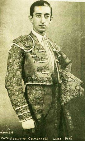 """MANOLETE: born Manuel Laureano Rodriguez Sanchez on July -1917 and died August 1947,considered by many to be the greatest bullfighter of all time. His style was sober and serious with few concessions to the gallery,he excelled at the 'suerte de matar'-the kill. He popularized a pass called the """"Manoletina"""" which is normally given just before entering to kill with the sword. He died following a goring in the right upper leg. A motion picture has been made of his life starring Adien Brody."""