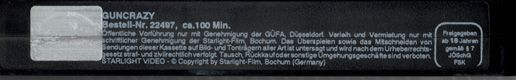GUNCRAZY (OVERSEAS FILMGROUP, 1992), PAL VHS, STARLIGHT VIDEO, ALLEMAGNE, L'UE, voyageuses, nouvelle vague, Jane BIRKIN, France GALL, St. Vincent Annie CLARK, Dylana SUAREZ, #natalieoffduty, NATALIE off DUTY, #jryanulsh, musiciennes, inspiration, alternative girls, indie style, girl power, filles alternatives, grrrls, boho hippie, cheveux roux, franges, fashion model poses, fashion blogger style, hipster, metal musique, féministe radical, 2014, 2015, 2016, 2017, Eurovision 2018, arme à…