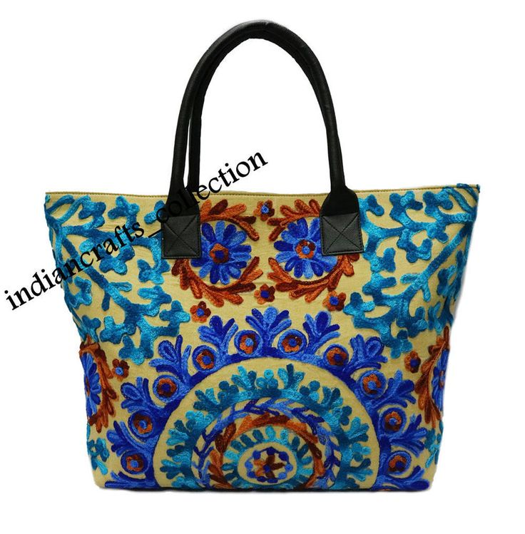 Indian Cotton Suzani Embroidery Handbag Woman Tote Shoulder Bag Beach Boho Bag #Handmade #ShoulderBag