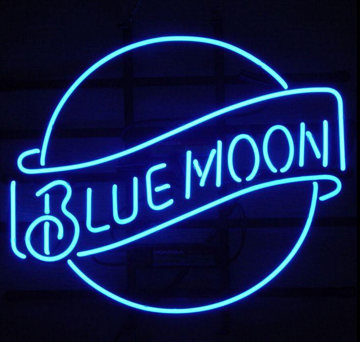 Blue Moon Beer Pub Bar Real Glass Handmade Neon Light Sign 17''X14'' L21S