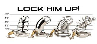 Domination just got better! Lock up his cock. Full range of male chastity devices from www.kinkyfever.co.uk