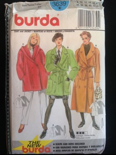 Pattern-Burda-3639-misses-coat-or-jacket-trench-2-lengths-sz-8-18