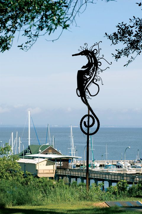 The Seahorse, one of the iconic symbols of Fairhope, Alabama - overlooking Mobile Bay