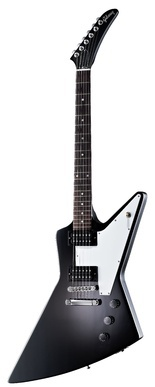 GIBSON EXPLORER 76 EB    Gibson Explorer 76 EB, electric guitar - mahogany body and neck, rosewood fingerboard, 1x thomann 496 R(Neck) & 1x 500 T(Bridge) humbuckers, 22 jumbo frets, white pickguard and chrome hardware. Includes case. Colour: Ebony. $1190
