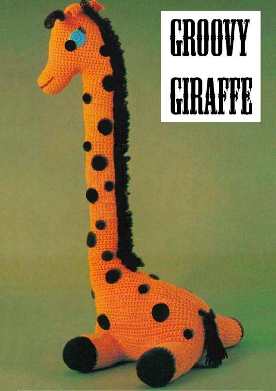 PDF Vintage Giant  Toy Crochet Pattern GROOVY GIRAFFE 1970s