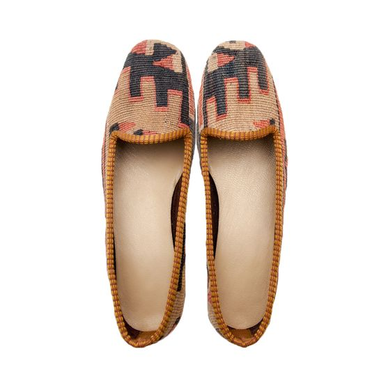 KILIM SHOES size 37 | NOMADA  Our kilims are all hand made and one of a kind. They are from 1930s-1950s. They were produced by Anatolian women to be used in their houses. Each shoe is handmade, crafted from vintage hand-woven Turkish kilims, and finished with a durable leather sole and rubber heel. Our pairs of loafers is a one-of-a-kind. It is literally impossible to create two identical pairs of shoes, so they competely unique, never to be exactly reproduced.