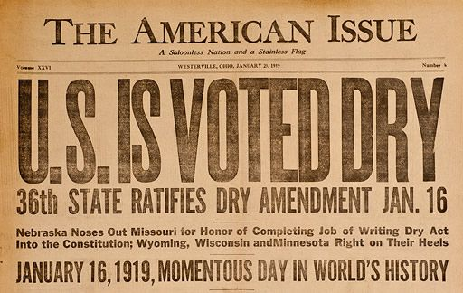 Picture 15 U.S. Congress passes 'prohibition' amendment  The Eighteenth Amendment outlaws the manufacture, sale, and transportation of alcoholic liquors.  The law is sent to the states for ratification.