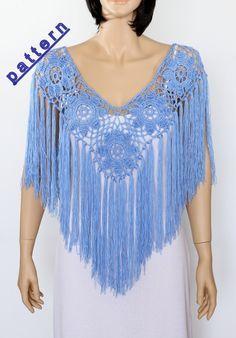 Crochet poncho pattern Fringe poncho PDF Rustic Poncho Wedding poncho cape by etty2504 on Etsy
