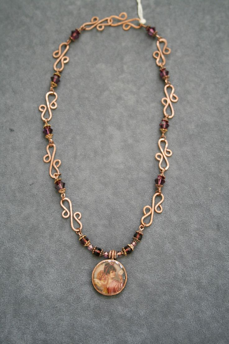 Beautifully Handcrafted Copper Wire Jewelry with Violet Swarovski ...