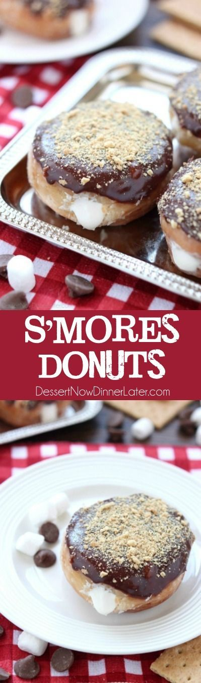 Glazed and ganached, with crushed graham crackers on top, and a marshmallow buttercream center, these S'mores Donuts are delicious and decadent.