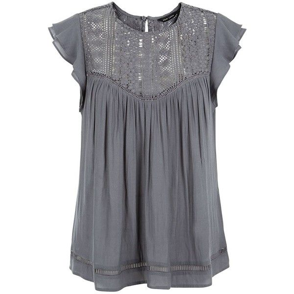 Dark Grey Ladder Lace Panel Ruffle Sleeve Top ($29) ❤ liked on Polyvore featuring tops, blouses, dark grey, lace inset top, lace blouse, lacy blouses, ruffle sleeve blouse and lacy tops