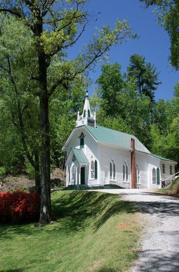 Country Church. I bet you  could ride your horses and tie up and a hitching post here. my dream church.