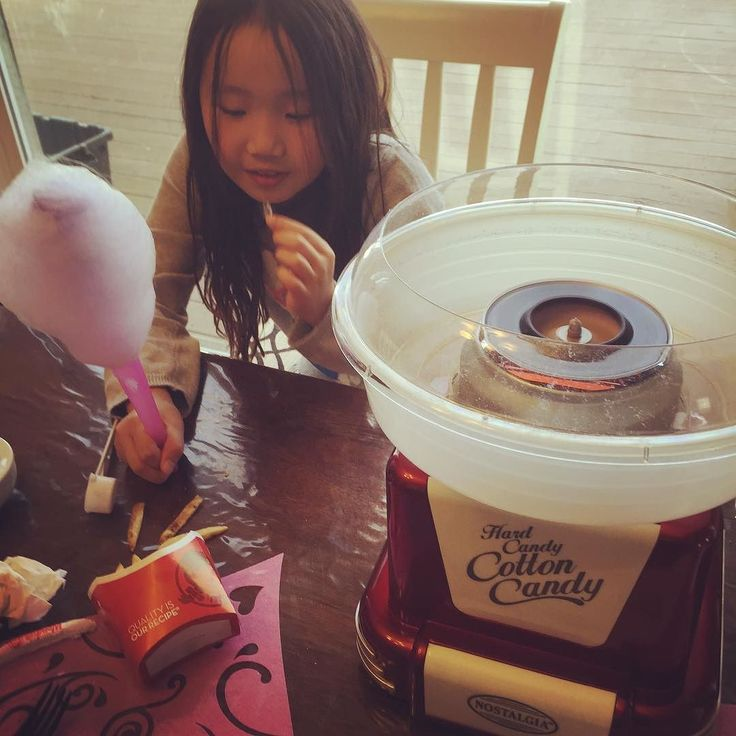 Making cotton candy on a lazy Sunday afternoon