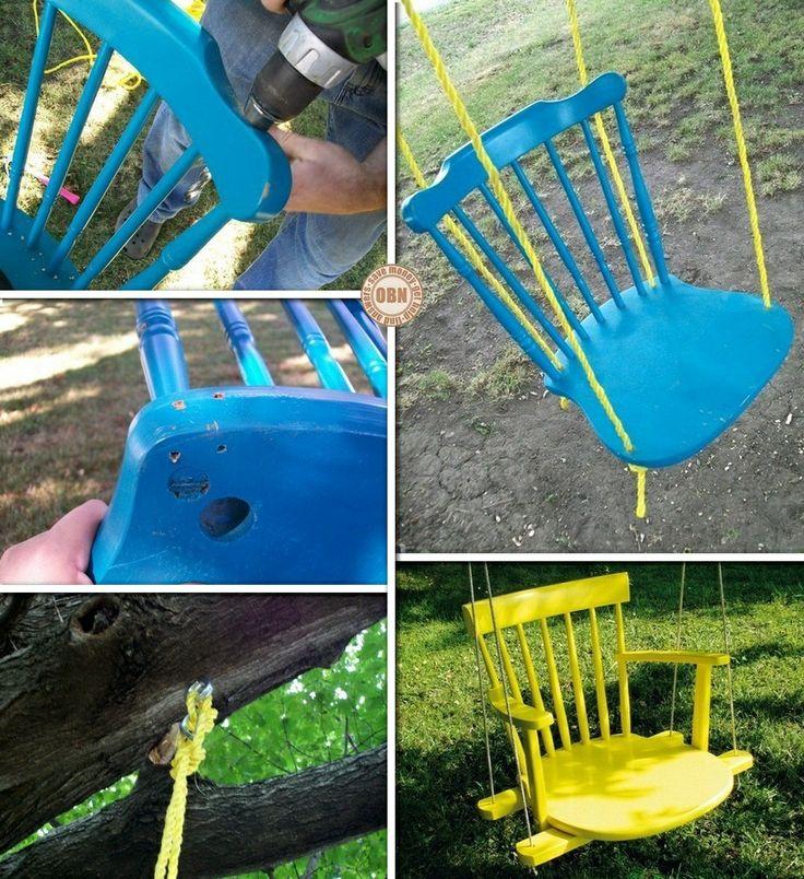 DIY Chair Tree Swing my daughter