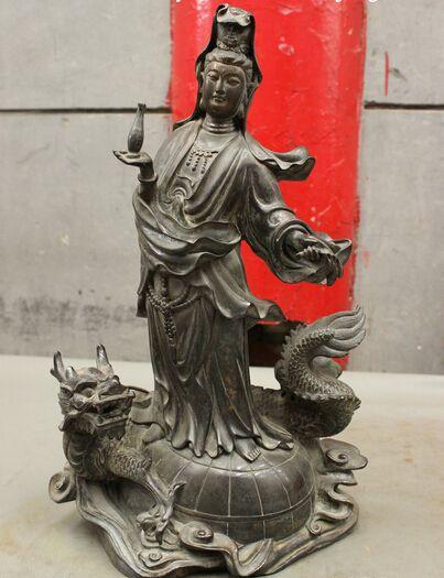"005617 16"" Folk Chinese Pure Bronze Kwan-Yin GuanYin Pot Buddha On Dragon globe Statue"