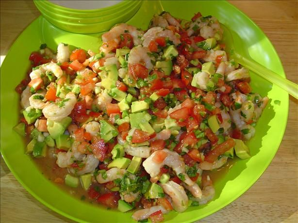 Ceviche Style Shrimp and Avocado Tacos from Food.com:   Saw this in my Cooking Light Magazine this month...ran out and bought a couple of avocados!  We loved this!