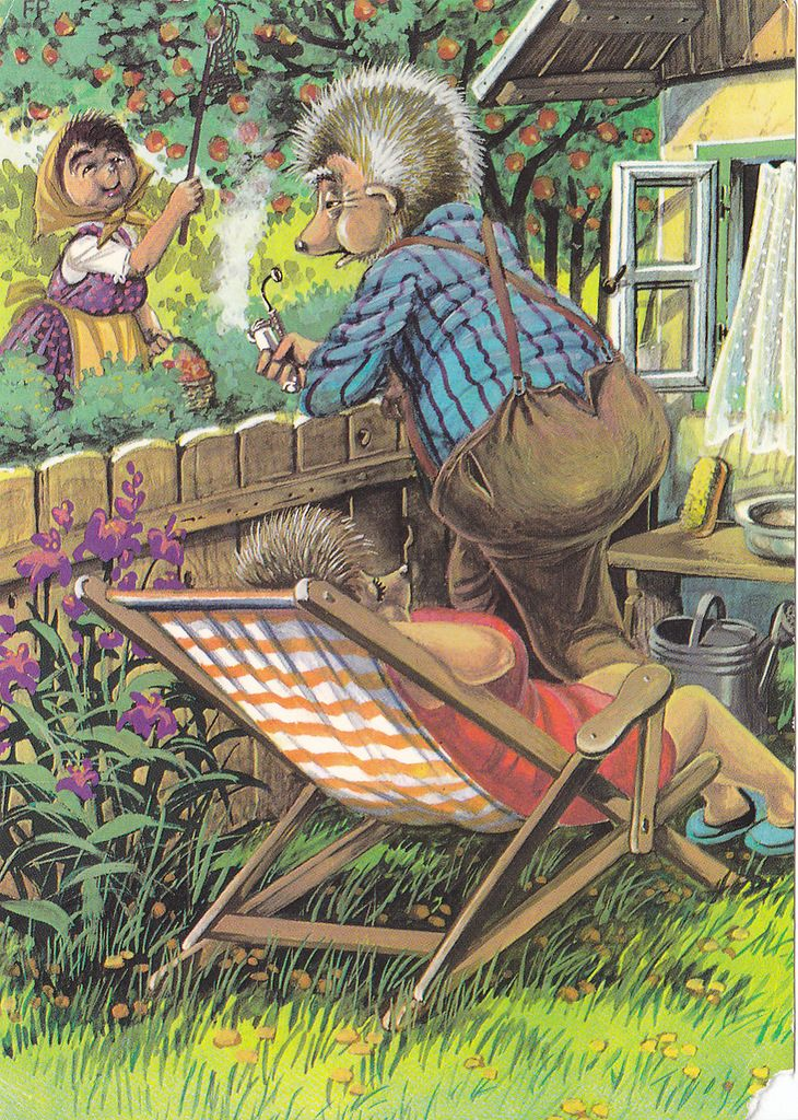 Ежики в старых открытках, днем рождения роман