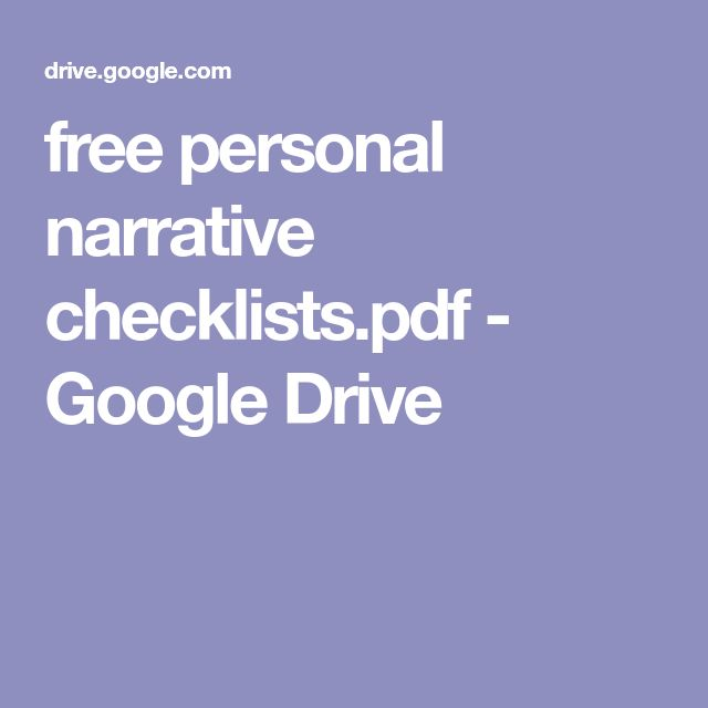 free personal narrative checklists.pdf - Google Drive