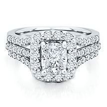 2 ct. tw. Cushion Shaped Multi-Diamond Center Engagement Ring in 14K White Gold