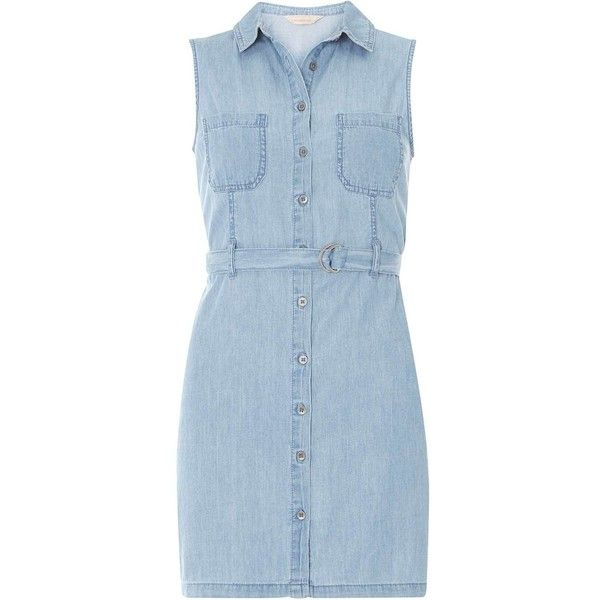 Dorothy Perkins Petite Denim Shirt dress ($44) ❤ liked on Polyvore featuring dresses, blue, petite, petite dresses, no sleeve dress, dorothy perkins, blue dress and denim dress