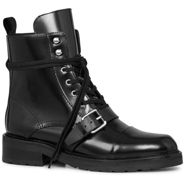 Allsaints Women's Donita Leather Lace Up Combat Boots ($370) ❤ liked on Polyvore featuring shoes, boots, black, leather lace up boots, black combat booties, military boots, kohl shoes and black combat boots