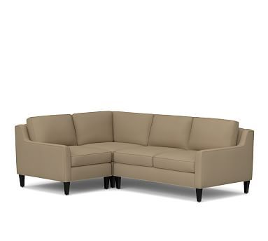 Beverly Upholstered Right Arm 3 Piece Corner Sectional, Polyester Wrapped Cushions, Twill Walnut