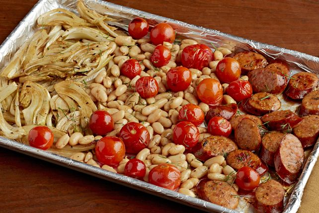 What's so great about our Italian Sausage Sheet-Pan Supper?  Not only does it take just minutes to prepare, but it also requires the use of just one pan making cleanup a snap!