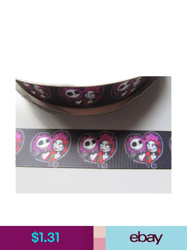Jack Skeleton Grosgrain Ribbon 2.6cm  x 1 Metre  Sewing//Halloween//Crafts//Cake